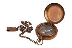 Pocket antique brass compass with chain. On white background stock photography