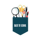 Pocket of Back to school conceptual with office supply. Stock Photography