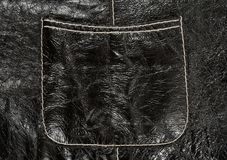 Pocket on black leather clothing Stock Photography