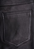 Pocket on the black leather texture as background Stock Image