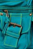 Pocket of blue-green fabric bag Royalty Free Stock Image