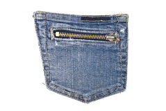 Pocket blue jeans with zipper Royalty Free Stock Images