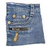 Pocket blue jeans with zipper Stock Images