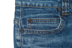 Pocket of blue women's jeans with metal buttons. On the white background Stock Images