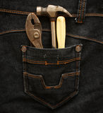Pocket with building tools Stock Image