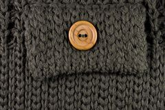 Pocket with a button. Pocket with a wooden button Royalty Free Stock Photos