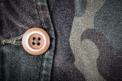 Pocket with a button on the fabric with a camouflage pattern. Ba Stock Image