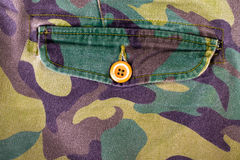 Pocket with a button on the fabric with a camouflage pattern. Ba Royalty Free Stock Photography