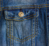 Pocket with a button on a woman`s jacket. Closed pocket on a denim women`s jacket Royalty Free Stock Photos