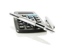 Pocket Calculator And Ball-pen Stock Images