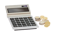 Pocket calculator and euro coins Stock Image