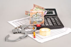 Pocket calculator, romanian cash, glasses, business plan and han Stock Photo