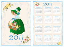 Pocket calendar 2011. 70 x105 mm. Vintage pocket calendar 2011 with girl and cat. 70 x105 mm Royalty Free Stock Images