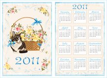 Pocket calendar 2011 with cat. 70 x105 mm. Vintage pocket calendar 2011 with cat. 70 x105 mm Royalty Free Stock Image