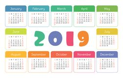 Pocket calendar 2019. Basic simple template. Week starts on Sunday. Colorful funny, kid`s card. New year vector illustration