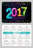 Pocket calendar 2017 black background. Sunday start pocket calendar 2017 with black cover. Vector Stock Photos