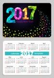 Pocket calendar 2017 black background. Sunday start pocket calendar 2017 with black cover. Vector Stock Image