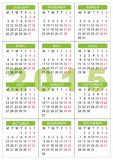 2015 Pocket calendar 7 x 10 cm - 2,76 x 3,95 inch. Starting with monday Stock Photos
