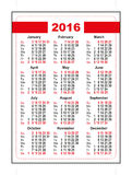 2016 pocket calendar. First day Sunday. Vertical orientation days of week Stock Photo