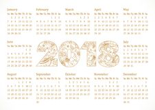 2018 pocket calendar grid. 2018 office calendar for whole year with ethnics background and art elements. Luxurious decorating traditional numbers, isolated Stock Photography
