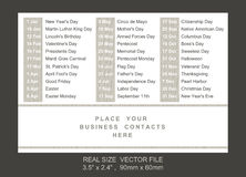 Pocket calendar with holidays list Royalty Free Stock Photography