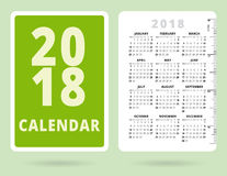 Pocket Calendar 2018 with inch ruler. Vector template Stock Images