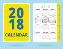Pocket Calendar 2018 with inch ruler. Vector template Royalty Free Stock Photos