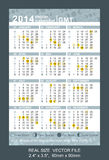 Pocket calendar 2014 with Phases of the moon/ GMT,. Pocket Calendar 2014 with Phases of the moon-GMT, vector, start on Monday Stock Photography
