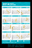 Pocket calendar 2014 with Phases of the moon/ GMT. Pocket Calendar 2014, vector, start on Sunday with Phases of the moon/ GMT VECTOR SIZE: 2.4 x 3.5, 60mm x 90mm Royalty Free Illustration