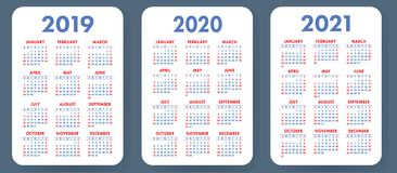 Pocket calendar 2019, 2020, 2021 set. Basic simple template. Wee. K starts on Sunday. Vector design royalty free illustration