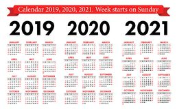 Pocket calendar 2019, 2020, 2021 set. Basic simple template. Week starts on Sunday. Red and black color. Business planner stock illustration