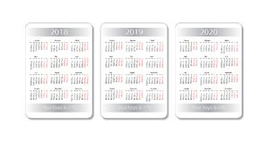 Vector pocket calendar set. 2018, 2019 and 2020 years. White design template. Pocket calendar set. 2018, 2019 and 2020 years. Vector white design template royalty free illustration