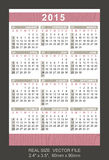 Pocket calendar 2015, start on Sunday. SIZE: 2.4 x 3.5, 60mm x 90mm vector illustration