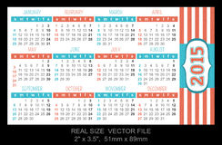 Pocket calendar 2015, start on Sunday. SIZE: 2 x 3.5, 51mm x 89mm vector illustration