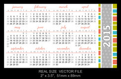Pocket calendar 2015, start on Sunday Royalty Free Stock Photo