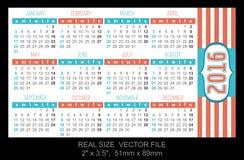 Pocket calendar 2016, start on Sunday Stock Photography