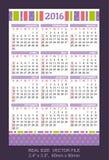 Pocket Calendar 2016,  start on Sunday Stock Photos