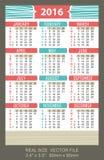 Pocket Calendar 2016,  start on Sunday Royalty Free Stock Photos