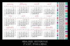 Pocket Calendar 2016,  start on Sunday Stock Images