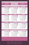Pocket calendar 2016, start on Sunday Stock Photo