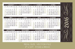 Pocket Calendar 2016,  start on Sunday. Pocket Calendar 2016, vector, start on Sunday Royalty Free Stock Photography