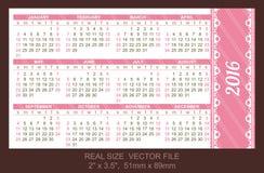 Pocket calendar 2016, start on Sunday. Pocket Calendar 2016, vector, start on Sunday Royalty Free Illustration