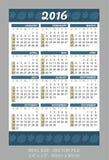 Pocket Calendar 2016,  start on Sunday Royalty Free Stock Photo