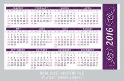 Pocket Calendar 2016,  start on Sunday Royalty Free Stock Images