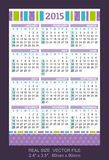 Pocket calendar 2015, start on SundaySIZE: 2.4. Pocket calendar 2015, start on Sunday Royalty Free Stock Photo