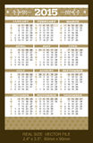 Pocket calendar 2015, start on SundaySIZE: 2.4. Pocket calendar 2015, start on Sunday Stock Image