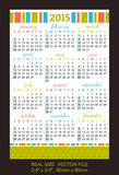 Pocket calendar 2015, start on SundaySIZE: 2.4 Stock Image