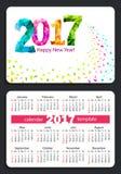 Pocket calendar 2017. Sunday start pocket calendar 2017 with white cover. Vector Stock Image