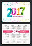 Pocket calendar 2017 Stock Image