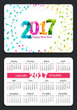 Pocket calendar 2017. Sunday start pocket calendar 2017 with white cover. Vector Royalty Free Stock Photo